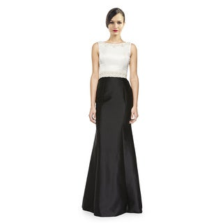 Theia Sleeveless Beaded Waist Colorblock Evening Gown Size 6