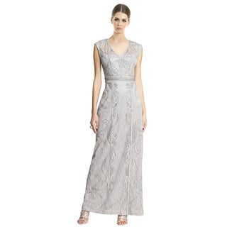 Sue Wong Cap Sleeve V-Neck Lace Soutache Evening Gown