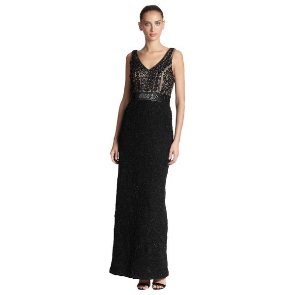 Sue Wong Beaded Embroidery Column Long Dress