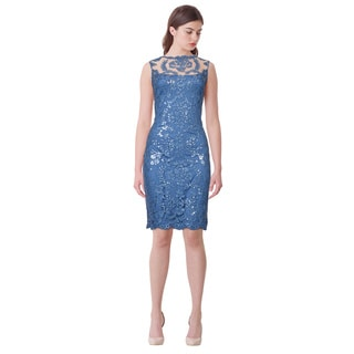 Tadashi Shoji Shimmery Sequin Embroidered Illusion Lace Dress