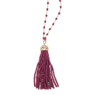 Sonia Bitton 14k Yellow Gold 2/5ct TDW Diamond and Ruby Tassel Necklace ( I-J, SI1-SI2)