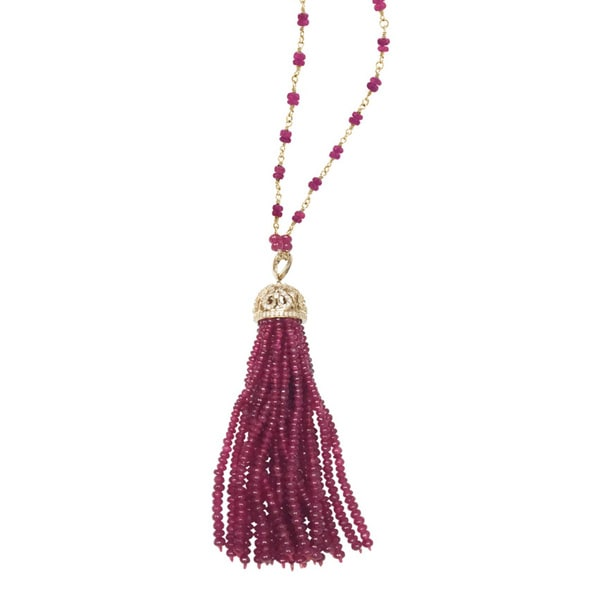 14k Yellow Gold 2/5ct TDW Diamond and Ruby Tassel Necklace ( I-J, SI1-SI2)