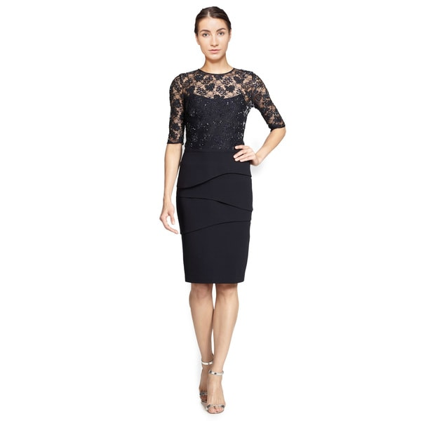 Teri Jon Sequin Lace Bodice Tiered Skirt Sheath Cocktail Dress