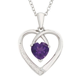 H Star Sterling Silver Amethyst and Diamond Accent Heart Pendant