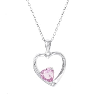 H Star Sterling Silver Created Pink Sapphire and Diamond Accent Heart Pendant