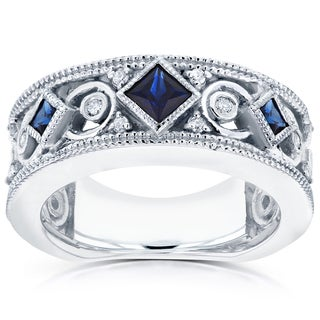 Annello 14k White Gold Sapphire and 1/6ct TDW Diamond Milgrain Infinity Band (G-H, I1-I2)