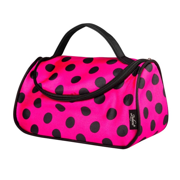 Zodaca Women Satin Polka Dots Zipped Travel Hanging Organizer Cosmetic Bag Makeup Case with Mirror