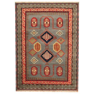 Herat Oriental Indo Hand-knotted Tribal Kazak Gray/ Rust Wool Rug (5'6 x 7'8)