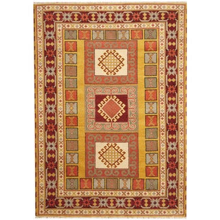 Herat Oriental Indo Hand-knotted Tribal Kazak Gold/ Red Wool Rug (5'9 x 8')