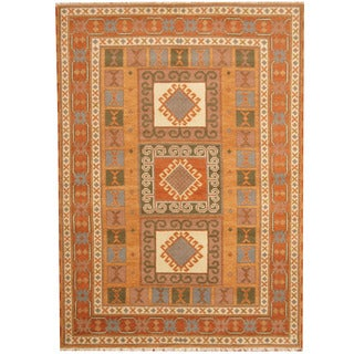 Herat Oriental Indo Hand-knotted Tribal Kazak Orange/ Rust Wool Rug (5'9 x 8')