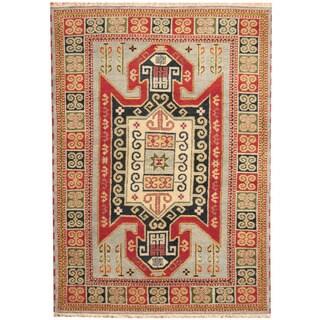 Herat Oriental Indo Hand-knotted Tribal Kazak Light Blue/ Rust Wool Rug (5'8 x 8')