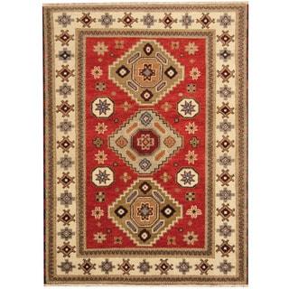 Herat Oriental Indo Hand-knotted Tribal Kazak Red/ Ivory Wool Rug (5' x 6'8)
