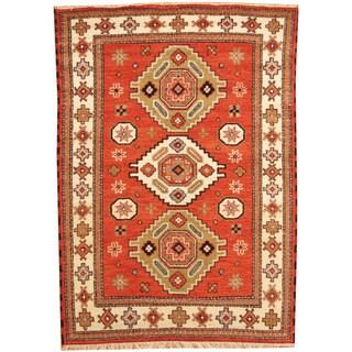 Herat Oriental Indo Hand-knotted Tribal Kazak Rust/ Ivory Wool Rug (4'11 x 6'9)