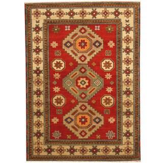 Herat Oriental Indo Hand-knotted Tribal Kazak Red/ Ivory Wool Rug (4'9 x 6'6)