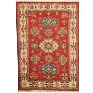 Herat Oriental Indo Hand-knotted Tribal Kazak Red/ Ivory Wool Rug (4'8 x 6'6)