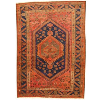 Herat Oriental Persian Hand-knotted Semi-antique Hamadan Salmon/ Navy Wool Rug (4'10 x 6'9)