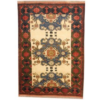 Herat Oriental Afghan Hand-knotted Tribal Kazak Red/ Ivory Wool Rug (4'8 x 6'9)