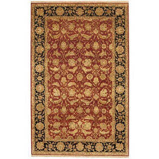 Herat Oriental Indo Hand-knotted Kashan Ivory/ Navy Wool Rug (4'11 x 7'8)