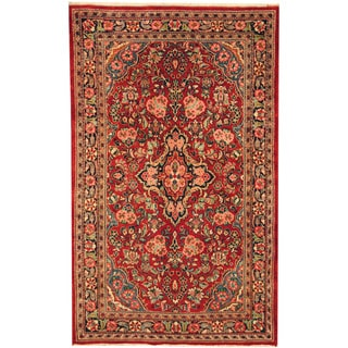 Herat Oriental Persian Hand-knotted Semi-antique Kashan Red/ Navy Wool Rug (4'2 x 6'8)