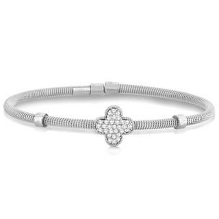 14k Gold 0.37ct Diamond Clover Bangle Cable Bracelet (G-H, SI1-SI2)