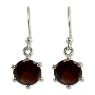 Sterling Silver 'Scarlet Solitaire' Garnet Earrings (India)