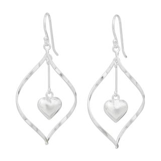 Handcrafted Sterling Silver 'Heart Pendulum' Earrings (Thailand)