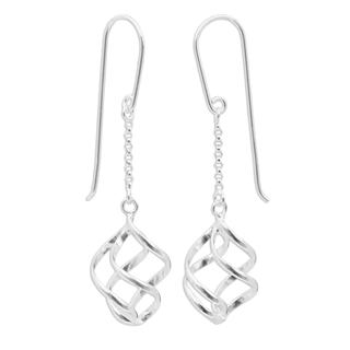 Handcrafted Sterling Silver 'Windblown' Earrings (Thailand)