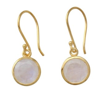 Gold Overlay 'Elite Discretion' Rainbow Moonstone Earrings (India)