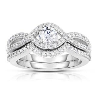 Eloquence 14k White Gold 2/3ct TDW Diamond Woven-Motif Bridal Set (H-I, I1-I2)