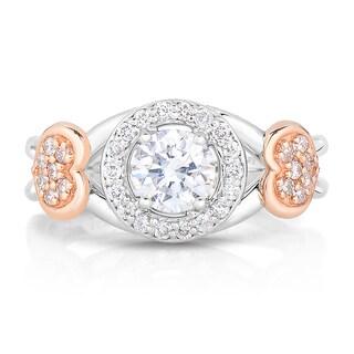 Eloquence 14k Two-Tone Gold 1ct TDW Diamond Halo Engagement Ring (H-I, I1-I2)