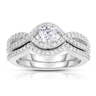 Eloquence 14k White Gold 1 1/3ct TDW Diamond Bridal Set (H-I, SI1-SI2)