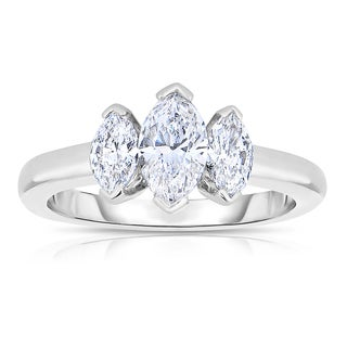 Eloquence Platinum 1 1/5ct TDW Diamond Three Stone Wedding Ring (H-I, SI1-SI2)