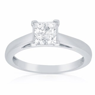 Eloquence 14k Whiet Gold 3/4ct TW Princess Cut Composite Diamond Engagement Ring (H-I, I1)