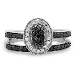 Sterling Silver 1/2ct TDW Black Diamond Oval Bridal Promise Ring Set (I-J, I2-I3)