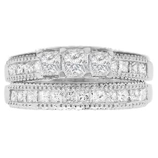 14k White Gold 2 1/3ct TDW Princess Diamond Bridal 3-stone Engagement Ring Set (H-I, I1-I2)