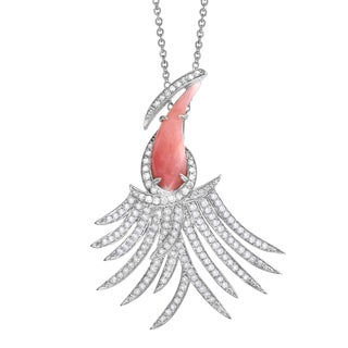 Beverly Hills Charm 14k White Gold Pink Opal and 3/4ct TDW Diamond Tropical Bird Necklace (H-I, I2-I3)