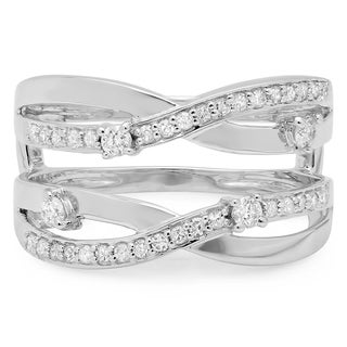 14k White Gold 2/5ct TDW Diamond Anniversary Wedding Band Swirl Guard Double Ring (H-I, I1-I2)