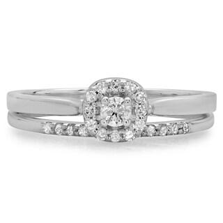 14k White Gold 1/3ct TDW Diamond Bridal Halo Engagement Ring (H-I, I1-I2)