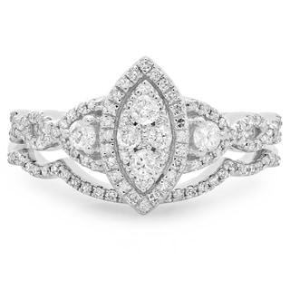 14k White Gold 1/2ct TDW Diamond Split Shank Marquise Engagement Band Set (H-I, I1-I2)