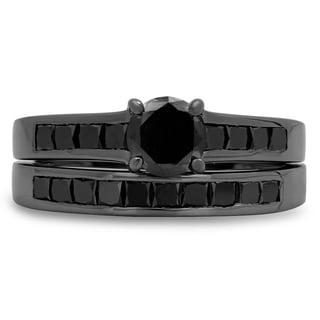 Black Sterling Silver 2 1/3ct TDW Princess Black Diamond Bridal Engagement Ring Set