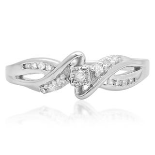 Sterling Silver 1/6ct TDW Diamond Crossover Swirl Bypass Split Shank Bridal Promise Ring (I-J, I2-I3)