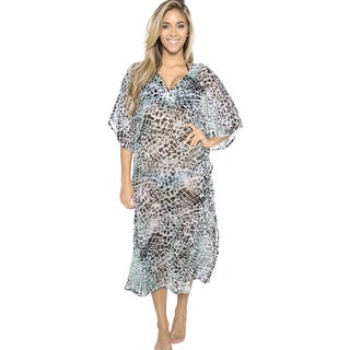La Leela Women's Abstract Sheer Chiffon Cover Up