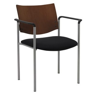 Evolve Series-Side/ Guest Chair with Arms and a Chocolate Wood Back
