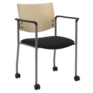 Evolve Series-Side/ Guest Chair with Arms a Natural Wood Back and Casters