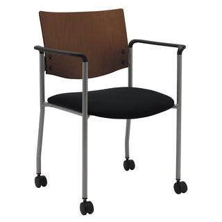Evolve Series-Side/ Guest Chair with Arms a Chocolate Wood Back and Casters