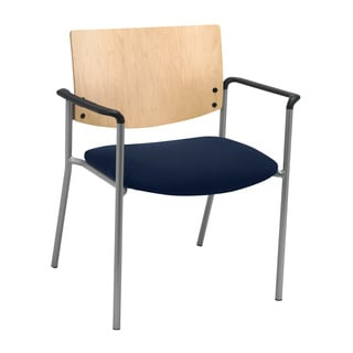 Evolve Series-Side/ Guest Chair with Arms and Natural Wood Back with 400-pound weight capacity