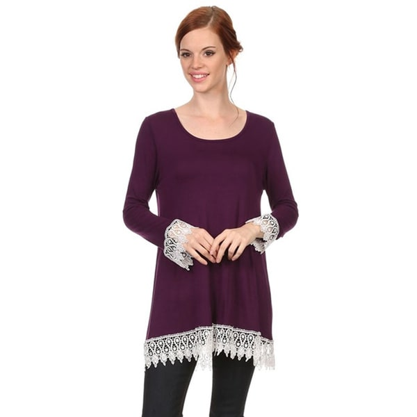 Moa Collection Women's Purple Crochet Lace Trim Top