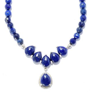 Sterling Silver Lapis Bead Drop Necklace