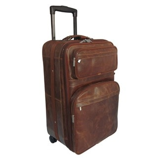 Amerileather Distressed Vintage Tan Leather Expandable Rolling Suitcase