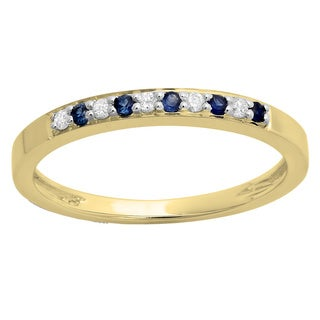 10k White Gold 1/6ct Blue Sapphire and Diamond Anniversary Wedding Band Stackable Ring (I-J, I1-I2)